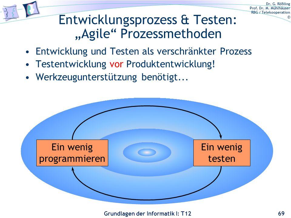 Dr. G. Rößling Prof. Dr. M. Mühlhäuser RBG / Telekooperation © Grundlagen der Informatik I: T12 Entwicklungsprozess & Testen: Agile Prozessmethoden En