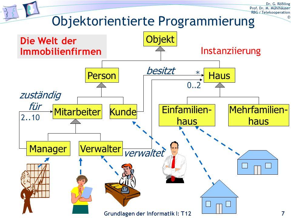 Dr. G. Rößling Prof. Dr. M. Mühlhäuser RBG / Telekooperation © Grundlagen der Informatik I: T12 Objektorientierte Programmierung 7 Objekt PersonHaus M