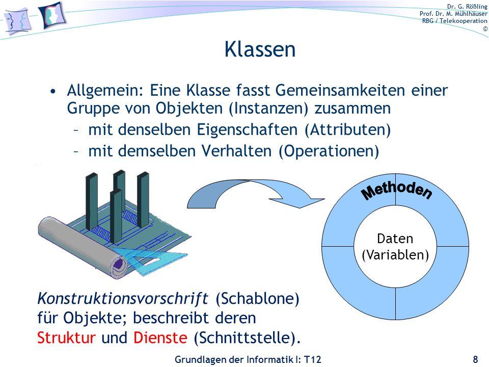 Dr. G. Rößling Prof. Dr. M. Mühlhäuser RBG / Telekooperation © Grundlagen der Informatik I: T12 Klassen Allgemein: Eine Klasse fasst Gemeinsamkeiten e