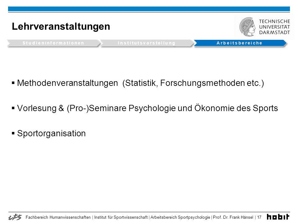 Fachbereich Humanwissenschaften | Institut für Sportwissenschaft | Arbeitsbereich Sportpsychologie | Prof. Dr. Frank Hänsel | 17 Lehrveranstaltungen M
