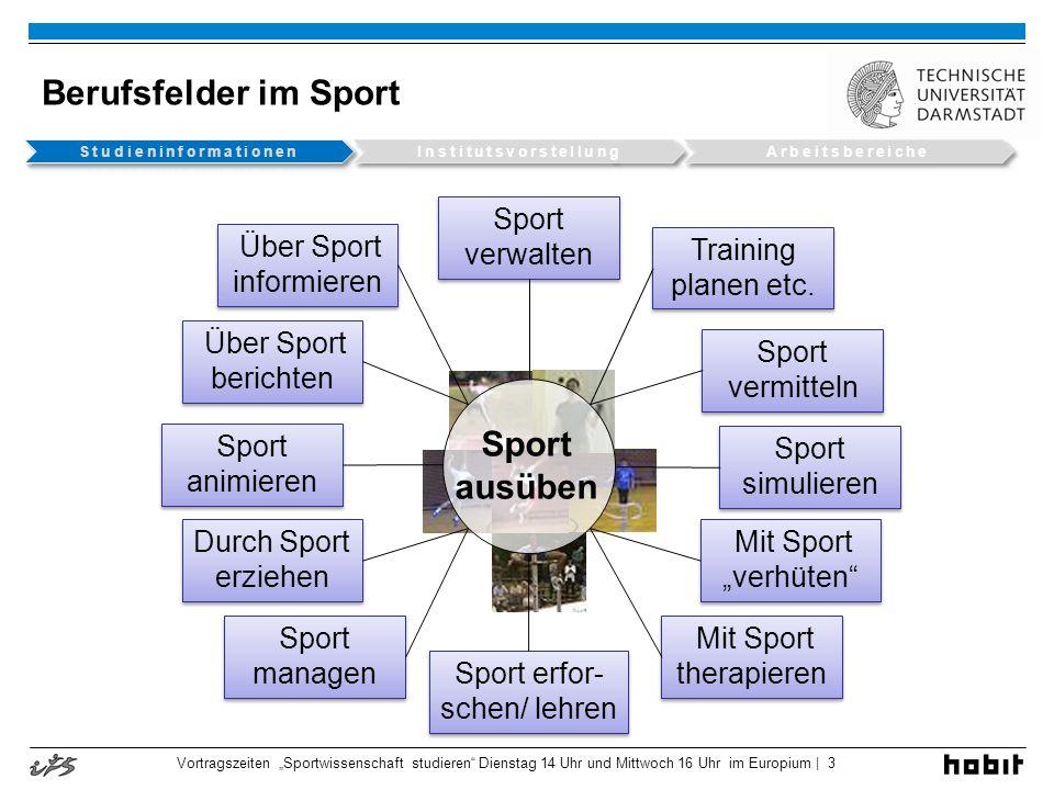Vortragszeiten Sportwissenschaft studieren Dienstag 14 Uhr und Mittwoch 16 Uhr im Europium | 3 Berufsfelder im Sport Sport ausüben Sport verwalten Tra