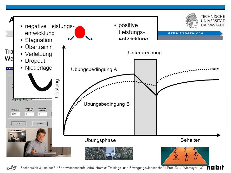 Fachbereich 3 | Institut für Sportwissenschaft | Arbeitsbereich Trainings- und Bewegungswissenschaft | Prof. Dr. J. Wiemeyer | 32 Arbeitsschwerpunkte