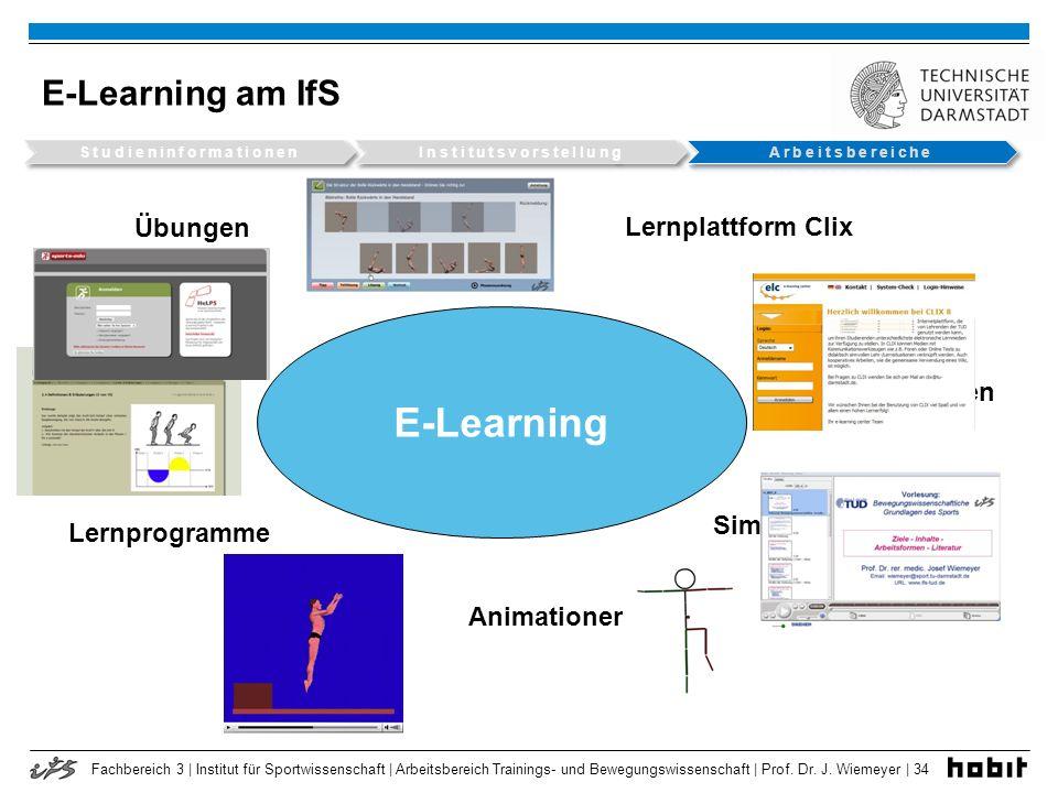 Fachbereich 3 | Institut für Sportwissenschaft | Arbeitsbereich Trainings- und Bewegungswissenschaft | Prof. Dr. J. Wiemeyer | 34 E-Learning am IfS E-