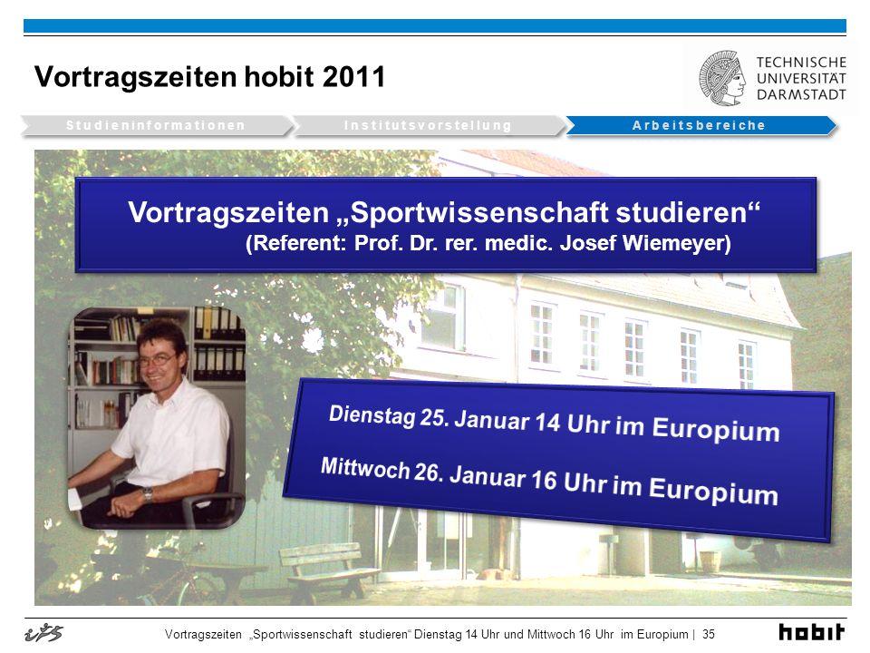 Vortragszeiten hobit 2011 Vortragszeiten Sportwissenschaft studieren Dienstag 14 Uhr und Mittwoch 16 Uhr im Europium | 35 Vortragszeiten Sportwissensc