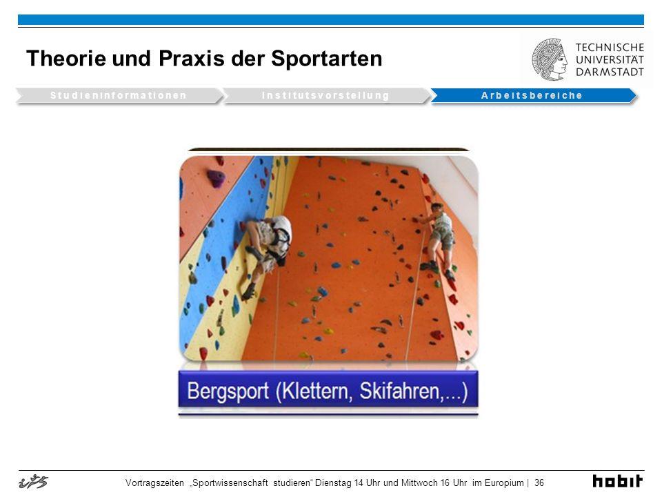 Theorie und Praxis der Sportarten Vortragszeiten Sportwissenschaft studieren Dienstag 14 Uhr und Mittwoch 16 Uhr im Europium | 36