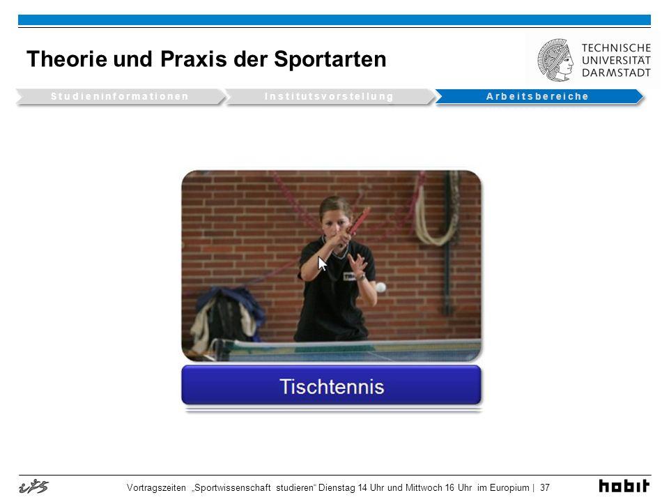 Theorie und Praxis der Sportarten Vortragszeiten Sportwissenschaft studieren Dienstag 14 Uhr und Mittwoch 16 Uhr im Europium | 37