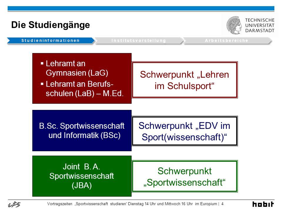 Die Studiengänge Schwerpunkt Lehren im Schulsport Schwerpunkt EDV im Sport(wissenschaft) Lehramt an Gymnasien (LaG) Lehramt an Berufs- schulen (LaB) –