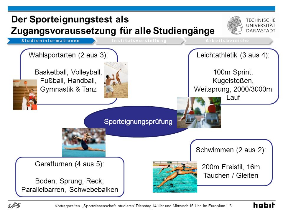 Sportwissenschaft Teilbereiche der Sportwissenschaft Vortragszeiten Sportwissenschaft studieren Dienstag 14 Uhr und Mittwoch 16 Uhr im Europium | 7
