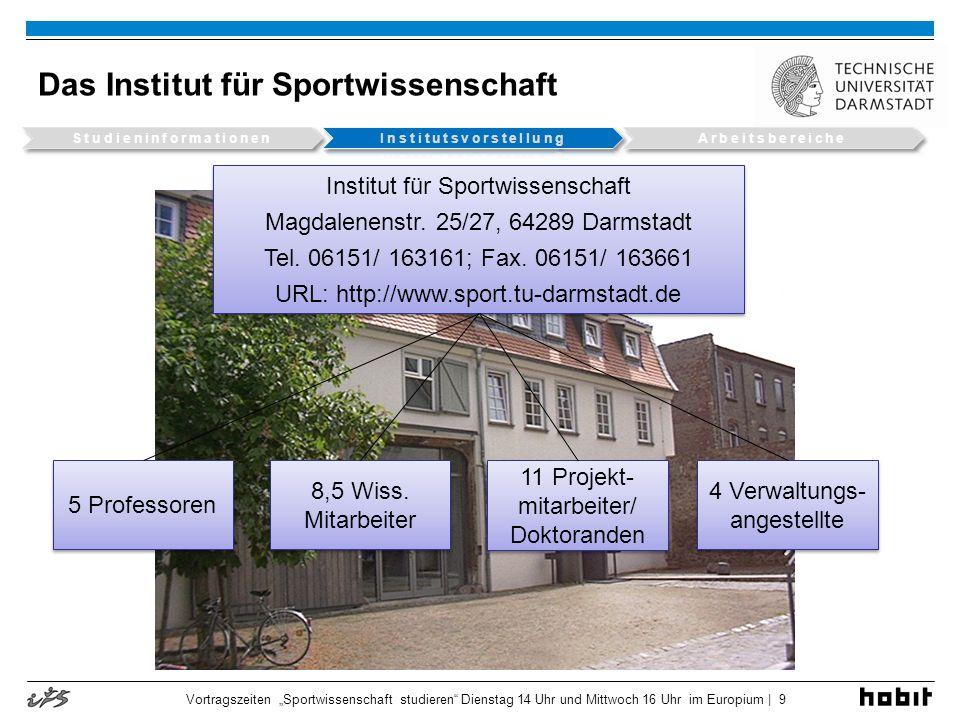 Institutsdarstellung Vortragszeiten Sportwissenschaft studieren Dienstag 14 Uhr und Mittwoch 16 Uhr im Europium | 10