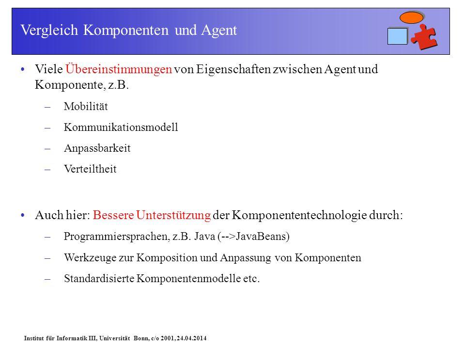 Institut für Informatik III, Universität Bonn, c/o 2001, 24.04.2014 Vergleich Komponenten und Agent Viele Übereinstimmungen von Eigenschaften zwischen Agent und Komponente, z.B.