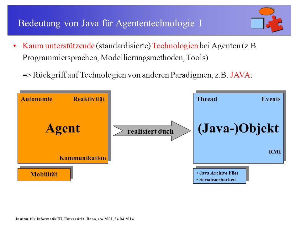Institut für Informatik III, Universität Bonn, c/o 2001, 24.04.2014 Kaum unterstützende (standardisierte) Technologien bei Agenten (z.B.