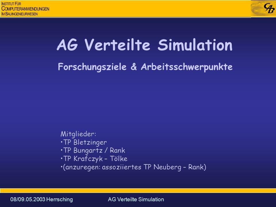 08/09.05.2003 HerrschingAG Verteilte Simulation Forschungsziele & Arbeitsschwerpunkte Mitglieder: TP Bletzinger TP Bungartz / Rank TP Krafczyk – Tölke (anzuregen: assoziiertes TP Neuberg – Rank)