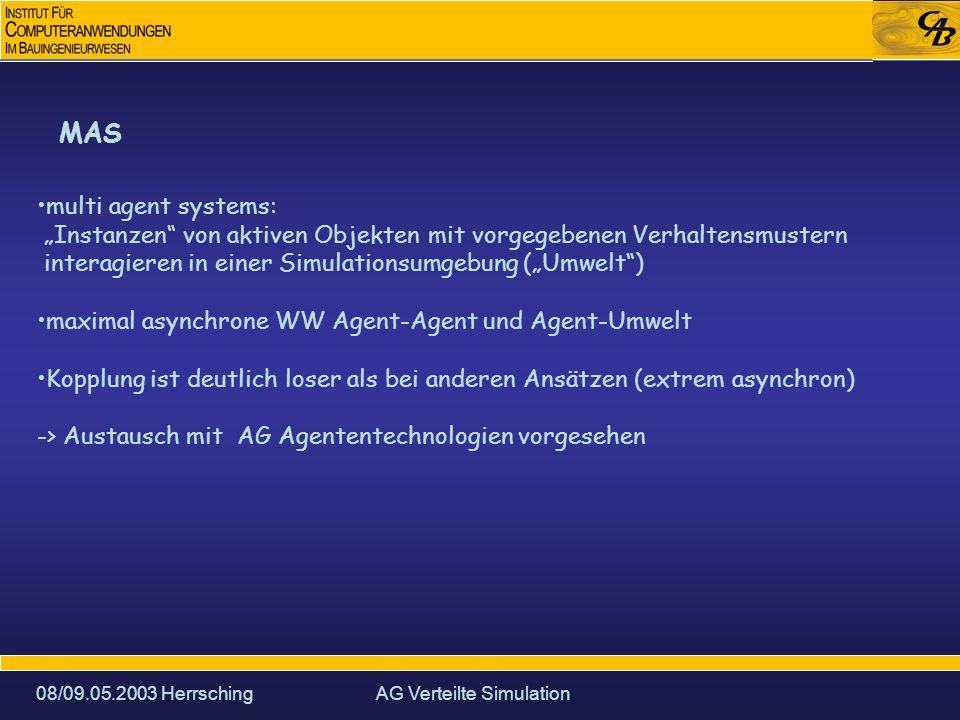 08/09.05.2003 HerrschingAG Verteilte Simulation MAS multi agent systems: Instanzen von aktiven Objekten mit vorgegebenen Verhaltensmustern interagieren in einer Simulationsumgebung (Umwelt) maximal asynchrone WW Agent-Agent und Agent-Umwelt Kopplung ist deutlich loser als bei anderen Ansätzen (extrem asynchron) -> Austausch mit AG Agententechnologien vorgesehen