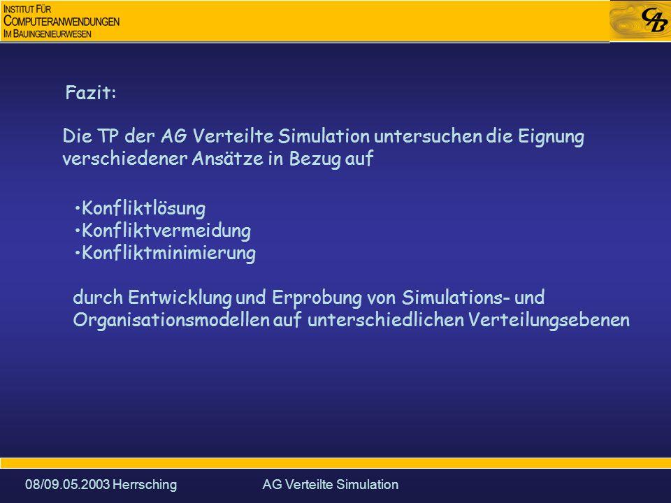 08/09.05.2003 HerrschingAG Verteilte Simulation Fazit: Die TP der AG Verteilte Simulation untersuchen die Eignung verschiedener Ansätze in Bezug auf Konfliktlösung Konfliktvermeidung Konfliktminimierung durch Entwicklung und Erprobung von Simulations- und Organisationsmodellen auf unterschiedlichen Verteilungsebenen