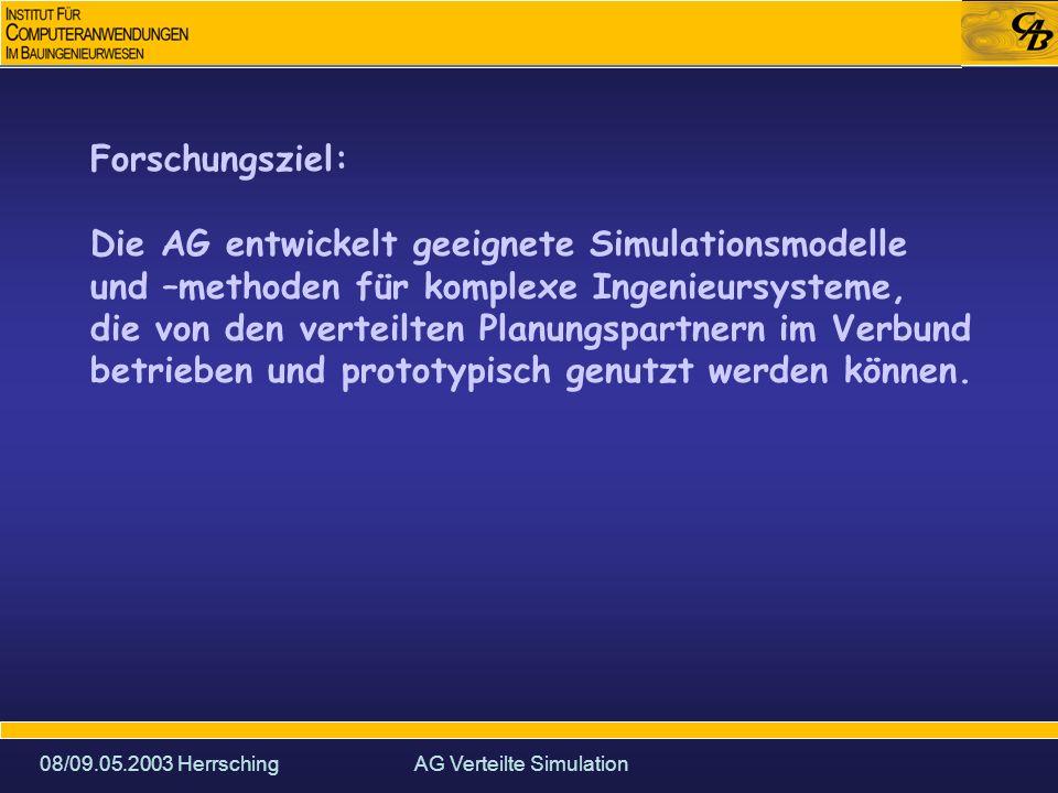 08/09.05.2003 HerrschingAG Verteilte Simulation Forschungsziel: Die AG entwickelt geeignete Simulationsmodelle und –methoden für komplexe Ingenieursysteme, die von den verteilten Planungspartnern im Verbund betrieben und prototypisch genutzt werden können.
