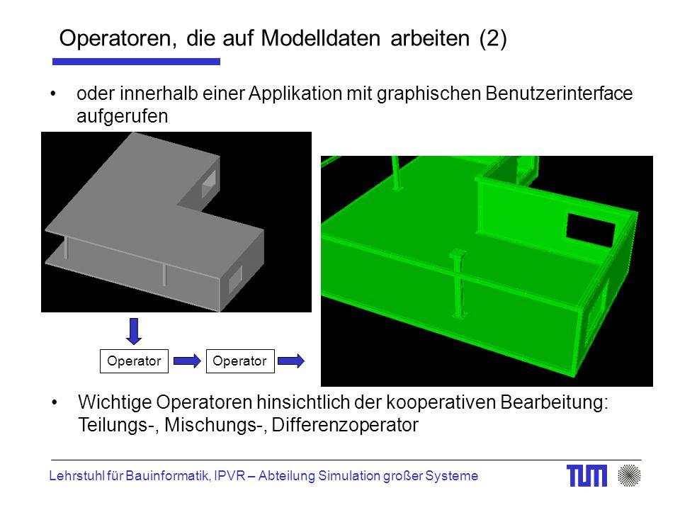 Lehrstuhl für Bauinformatik, IPVR – Abteilung Simulation großer Systeme Operatoren, die auf Modelldaten arbeiten (2) oder innerhalb einer Applikation