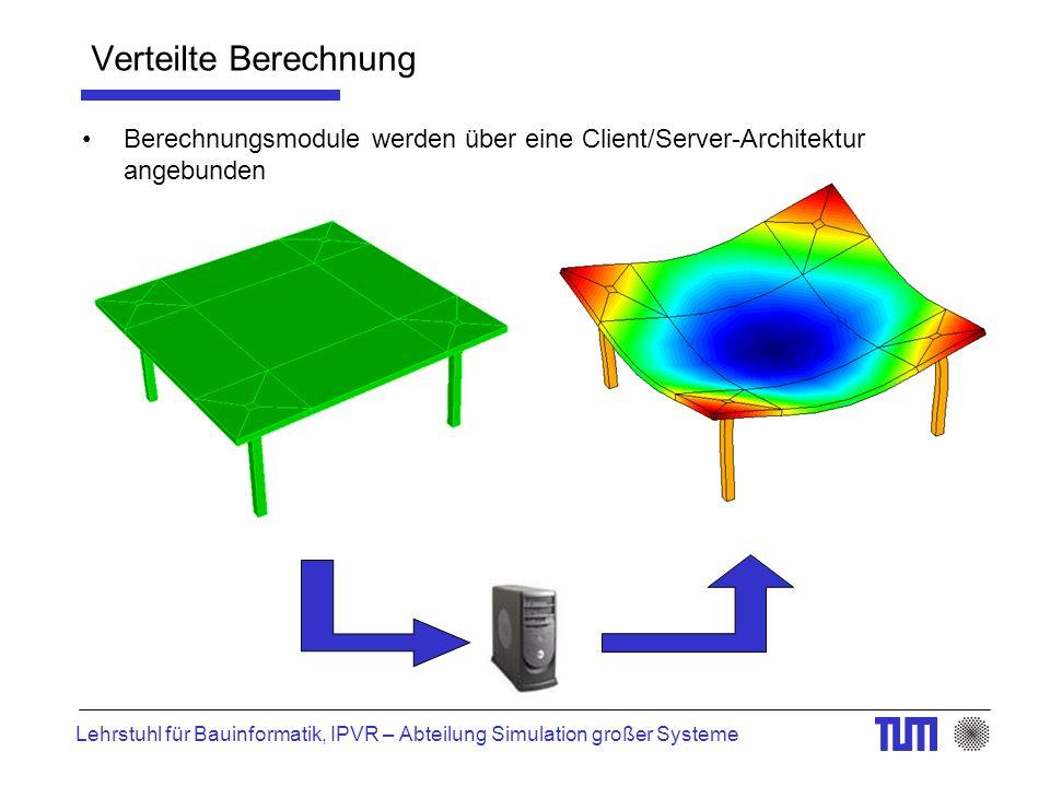 Lehrstuhl für Bauinformatik, IPVR – Abteilung Simulation großer Systeme Verteilte Berechnung Berechnungsmodule werden über eine Client/Server-Architek