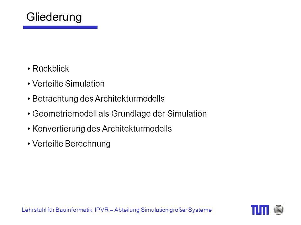 Lehrstuhl für Bauinformatik, IPVR – Abteilung Simulation großer Systeme Rückblick Verteilte Simulation Betrachtung des Architekturmodells Geometriemodell als Grundlage der Simulation Konvertierung des Architekturmodells Verteilte Berechnung Gliederung