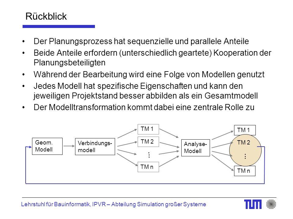 Lehrstuhl für Bauinformatik, IPVR – Abteilung Simulation großer Systeme Rückblick Der Planungsprozess hat sequenzielle und parallele Anteile Beide Anteile erfordern (unterschiedlich geartete) Kooperation der Planungsbeteiligten Während der Bearbeitung wird eine Folge von Modellen genutzt Jedes Modell hat spezifische Eigenschaften und kann den jeweiligen Projektstand besser abbilden als ein Gesamtmodell Der Modelltransformation kommt dabei eine zentrale Rolle zu TM n TM 1 Geom.