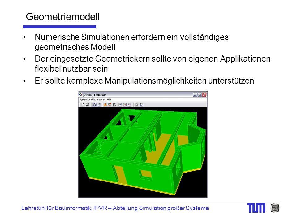 Lehrstuhl für Bauinformatik, IPVR – Abteilung Simulation großer Systeme Geometriemodell Numerische Simulationen erfordern ein vollständiges geometrisches Modell Der eingesetzte Geometriekern sollte von eigenen Applikationen flexibel nutzbar sein Er sollte komplexe Manipulationsmöglichkeiten unterstützen
