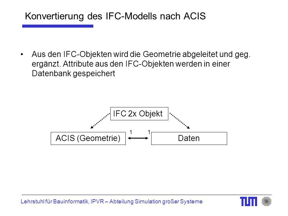 Lehrstuhl für Bauinformatik, IPVR – Abteilung Simulation großer Systeme Konvertierung des IFC-Modells nach ACIS Aus den IFC-Objekten wird die Geometrie abgeleitet und geg.