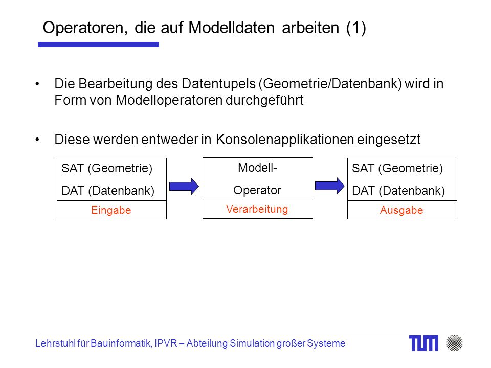 Lehrstuhl für Bauinformatik, IPVR – Abteilung Simulation großer Systeme Operatoren, die auf Modelldaten arbeiten (1) Die Bearbeitung des Datentupels (Geometrie/Datenbank) wird in Form von Modelloperatoren durchgeführt Diese werden entweder in Konsolenapplikationen eingesetzt SAT (Geometrie) DAT (Datenbank) Modell- Operator SAT (Geometrie) DAT (Datenbank) Eingabe Verarbeitung Ausgabe