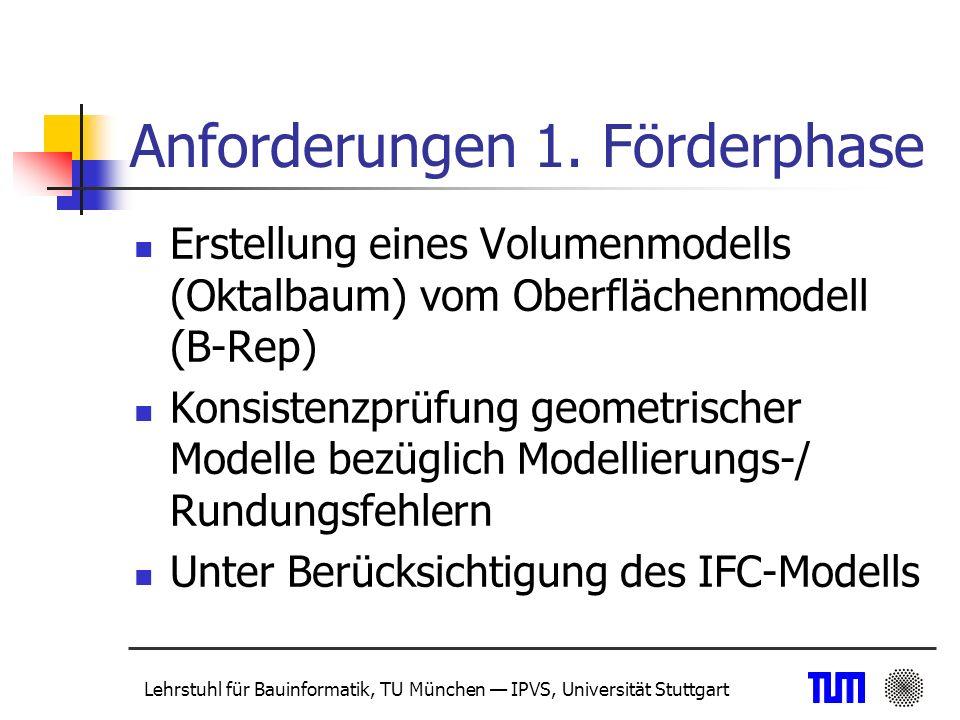 Lehrstuhl für Bauinformatik, TU München IPVS, Universität Stuttgart Umsetzung und Ergebnisse (1) Entwicklung von schnellen und effizienten Algorithmen zur Oktalbaumgenerierung (explizit und on-the-fly) Implementierung eines Werkzeugs zur Detektion von Inkonsistenzen im geometrischen Modell ACIS-Modell (vom IFC-Modell abgeleitet) zum Datenaustausch zwischen Projektpartnern