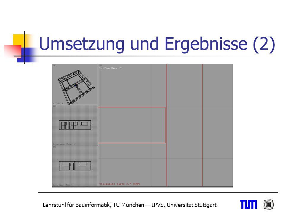Lehrstuhl für Bauinformatik, TU München IPVS, Universität Stuttgart Einsatz von Oktalbäumen Detailaufgabe oder Ablaufsteuerung Datenbanken/Data-Mining Geograph.
