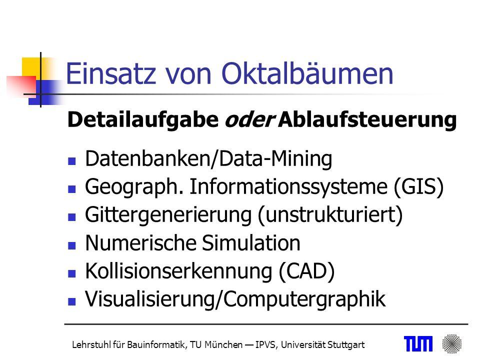 Lehrstuhl für Bauinformatik, TU München IPVS, Universität Stuttgart Weitere Vorgehensweise Bereitstellung einer flexiblen zentralen Datenbasis aufgrund des bereinigten Modells mit verschiedenen Merkmalen Client/Server-Architektur Unterstützung einer verteilten Bearbeitung bzw.