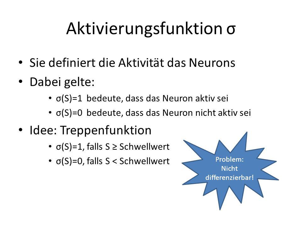 Aktivierungsfunktion σ Sie definiert die Aktivität das Neurons Dabei gelte: σ(S)=1 bedeute, dass das Neuron aktiv sei σ(S)=0 bedeute, dass das Neuron