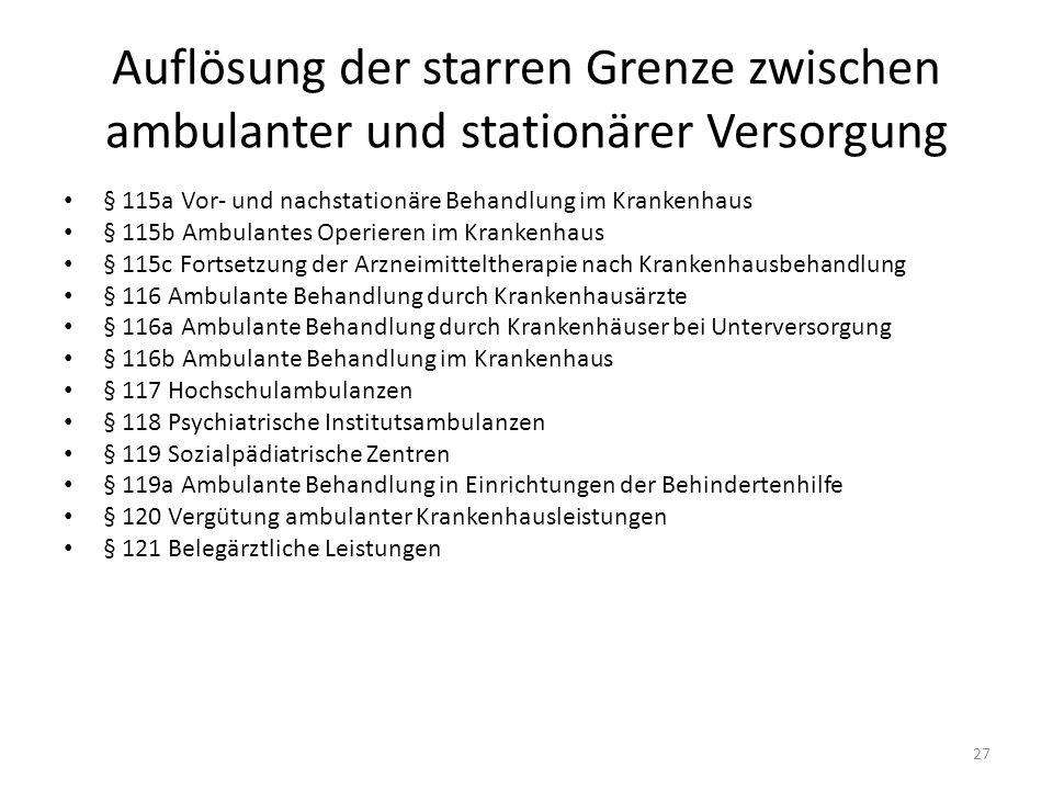 Auflösung der starren Grenze zwischen ambulanter und stationärer Versorgung § 115a Vor- und nachstationäre Behandlung im Krankenhaus § 115b Ambulantes