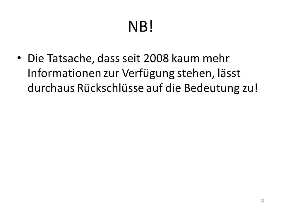 NB! Die Tatsache, dass seit 2008 kaum mehr Informationen zur Verfügung stehen, lässt durchaus Rückschlüsse auf die Bedeutung zu! 42