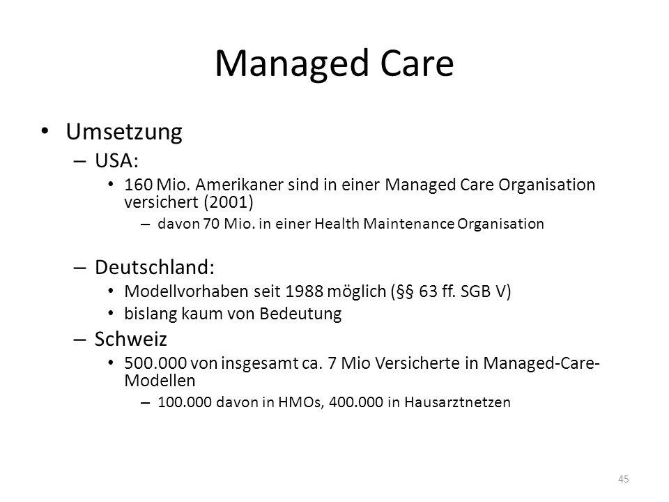 Managed Care Umsetzung – USA: 160 Mio. Amerikaner sind in einer Managed Care Organisation versichert (2001) – davon 70 Mio. in einer Health Maintenanc