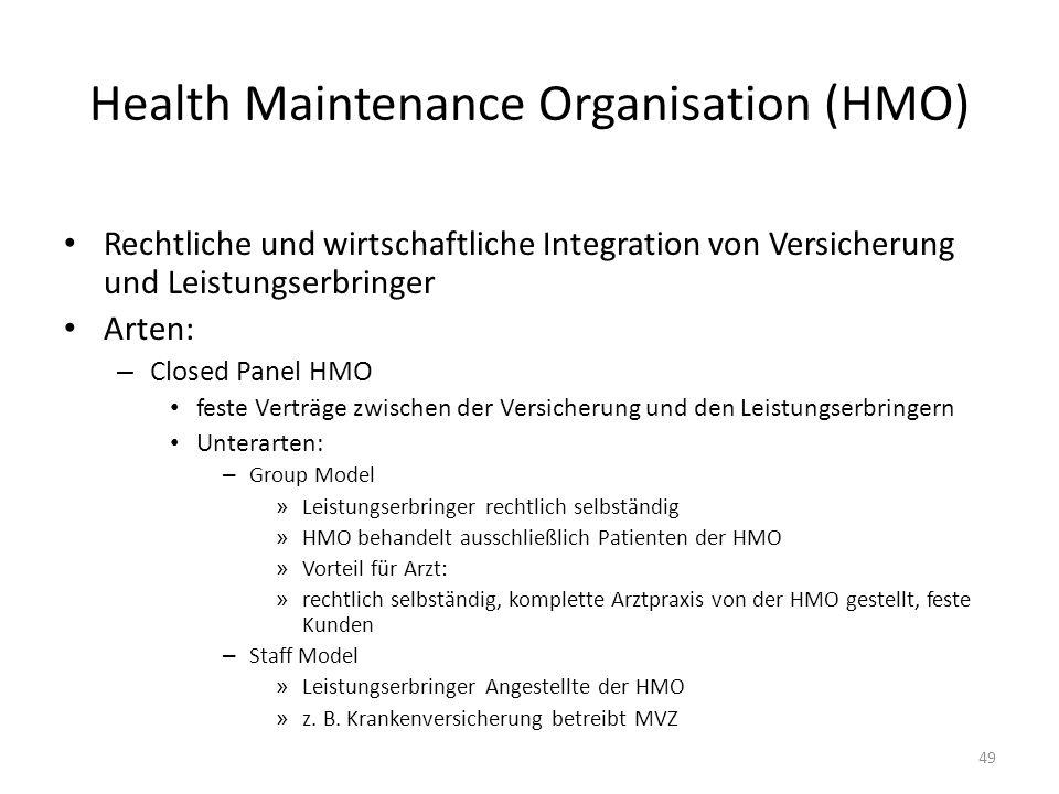 Health Maintenance Organisation (HMO) Rechtliche und wirtschaftliche Integration von Versicherung und Leistungserbringer Arten: – Closed Panel HMO fes
