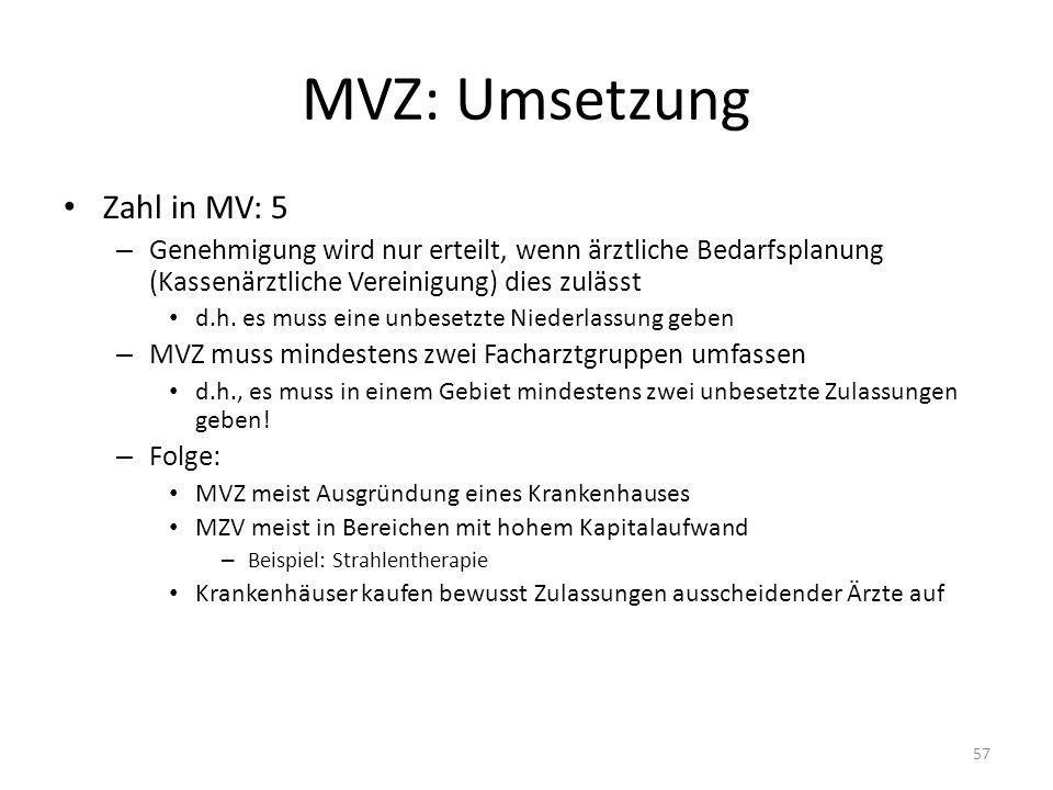 MVZ: Umsetzung Zahl in MV: 5 – Genehmigung wird nur erteilt, wenn ärztliche Bedarfsplanung (Kassenärztliche Vereinigung) dies zulässt d.h. es muss ein