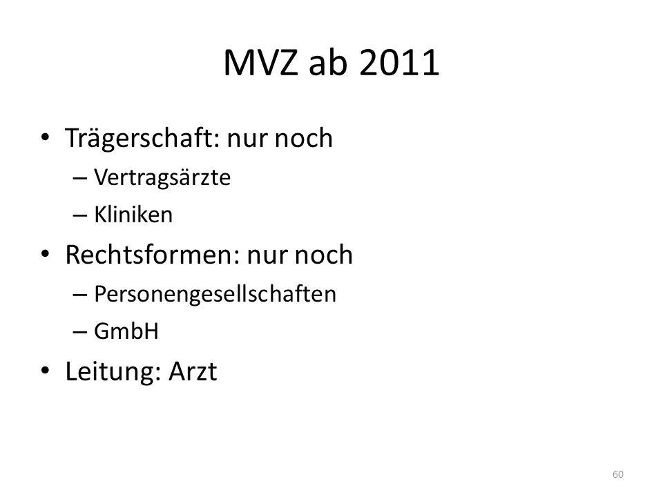 MVZ ab 2011 Trägerschaft: nur noch – Vertragsärzte – Kliniken Rechtsformen: nur noch – Personengesellschaften – GmbH Leitung: Arzt 60