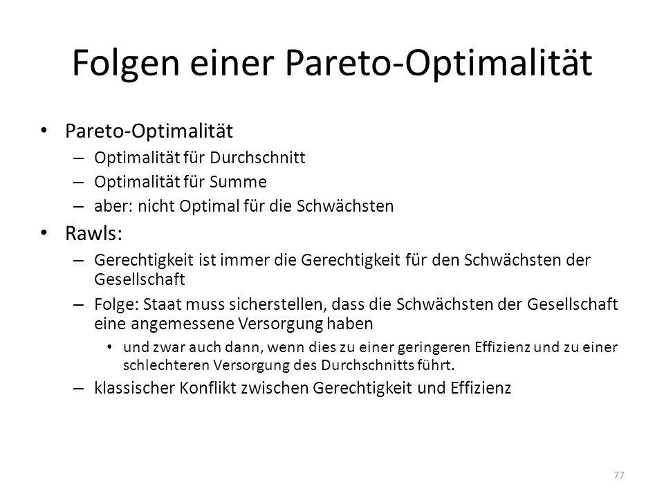 Folgen einer Pareto-Optimalität Pareto-Optimalität – Optimalität für Durchschnitt – Optimalität für Summe – aber: nicht Optimal für die Schwächsten Ra