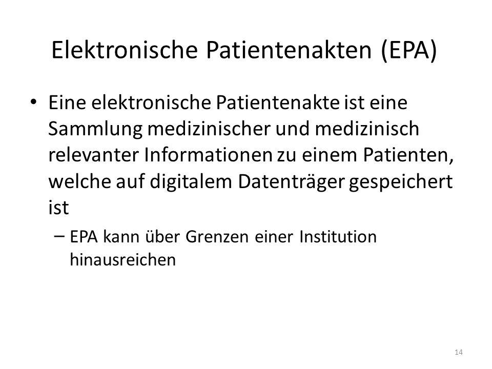 Elektronische Patientenakten (EPA) Eine elektronische Patientenakte ist eine Sammlung medizinischer und medizinisch relevanter Informationen zu einem Patienten, welche auf digitalem Datenträger gespeichert ist – EPA kann über Grenzen einer Institution hinausreichen 14