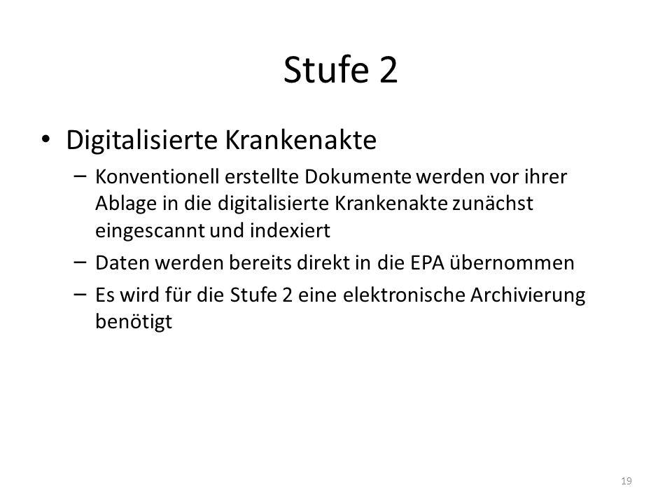 Stufe 2 Digitalisierte Krankenakte – Konventionell erstellte Dokumente werden vor ihrer Ablage in die digitalisierte Krankenakte zunächst eingescannt und indexiert – Daten werden bereits direkt in die EPA übernommen – Es wird für die Stufe 2 eine elektronische Archivierung benötigt 19