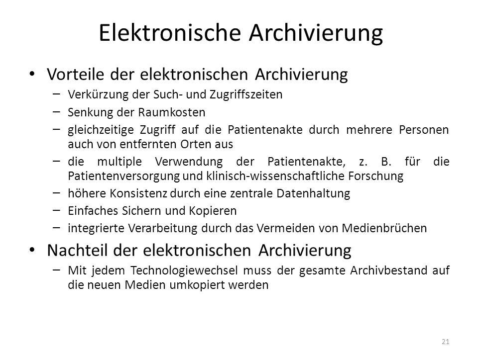 Elektronische Archivierung Vorteile der elektronischen Archivierung – Verkürzung der Such- und Zugriffszeiten – Senkung der Raumkosten – gleichzeitige