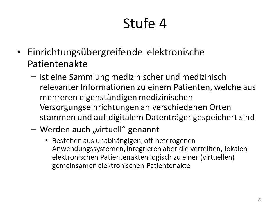 Stufe 4 Einrichtungsübergreifende elektronische Patientenakte – ist eine Sammlung medizinischer und medizinisch relevanter Informationen zu einem Pati