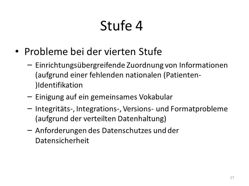 Stufe 4 Probleme bei der vierten Stufe – Einrichtungsübergreifende Zuordnung von Informationen (aufgrund einer fehlenden nationalen (Patienten- )Ident