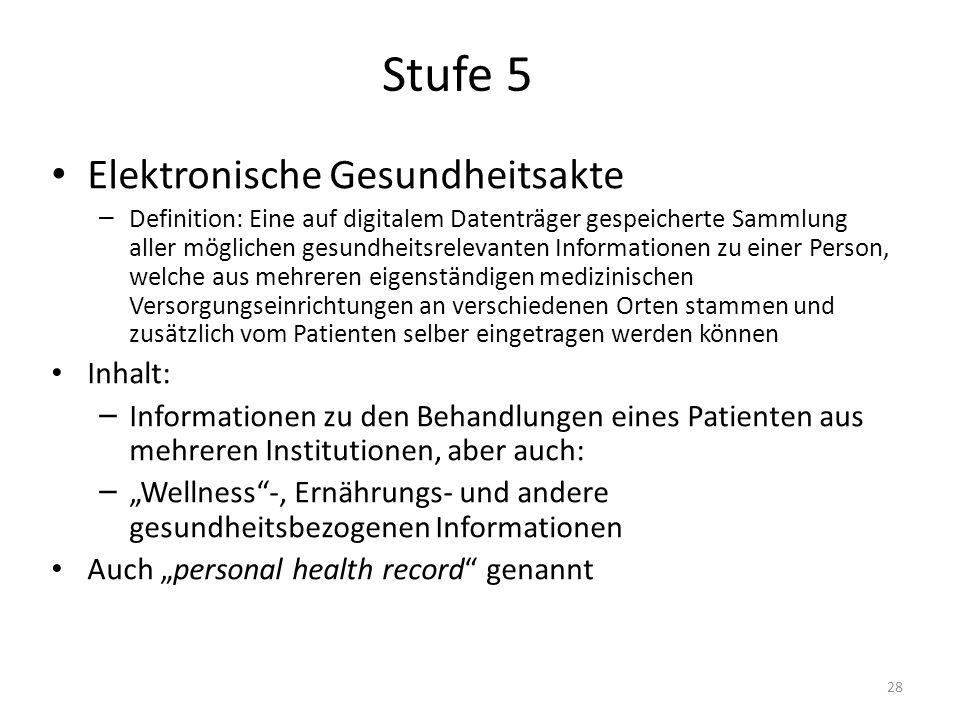 Stufe 5 Elektronische Gesundheitsakte – Definition: Eine auf digitalem Datenträger gespeicherte Sammlung aller möglichen gesundheitsrelevanten Informa