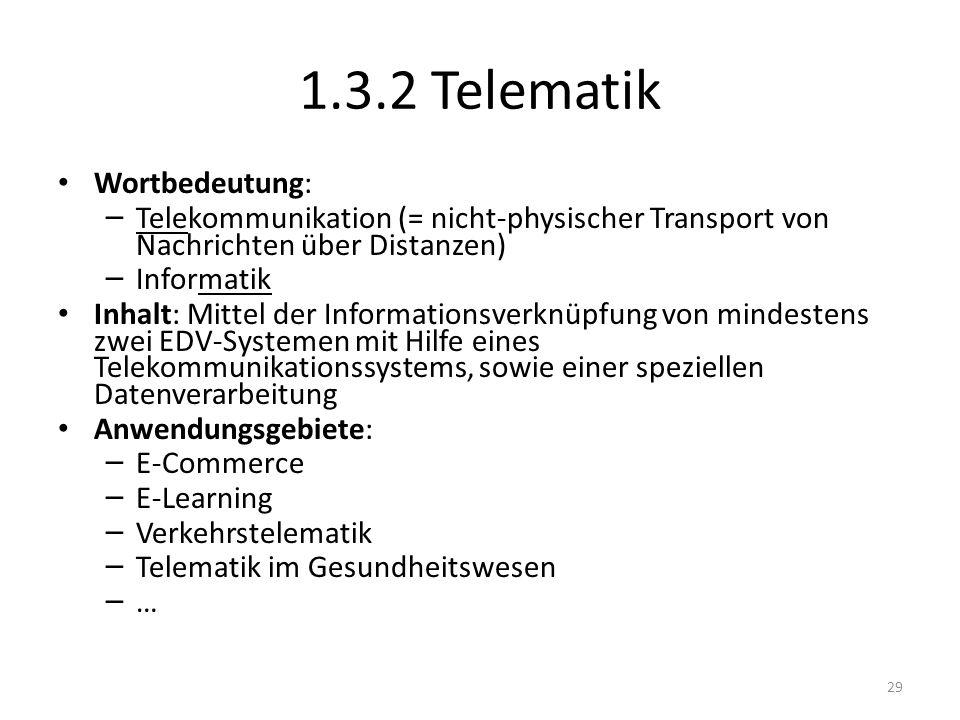 1.3.2 Telematik Wortbedeutung: – Telekommunikation (= nicht-physischer Transport von Nachrichten über Distanzen) – Informatik Inhalt: Mittel der Infor