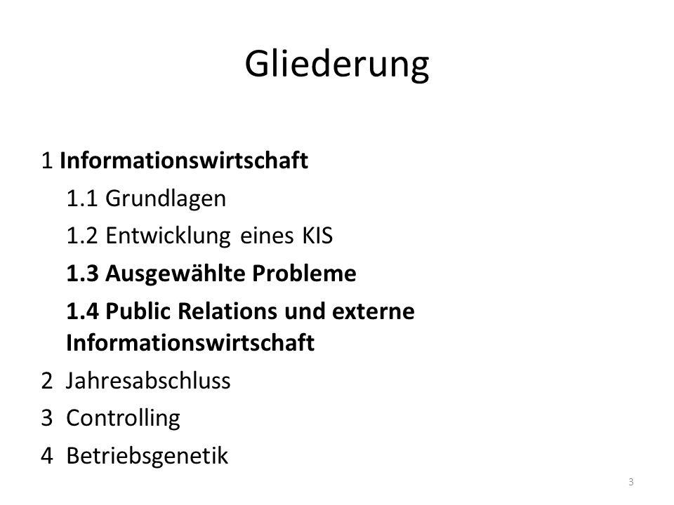 Gliederung 1 Informationswirtschaft 1.1 Grundlagen 1.2 Entwicklung eines KIS 1.3 Ausgewählte Probleme 1.4 Public Relations und externe Informationswir