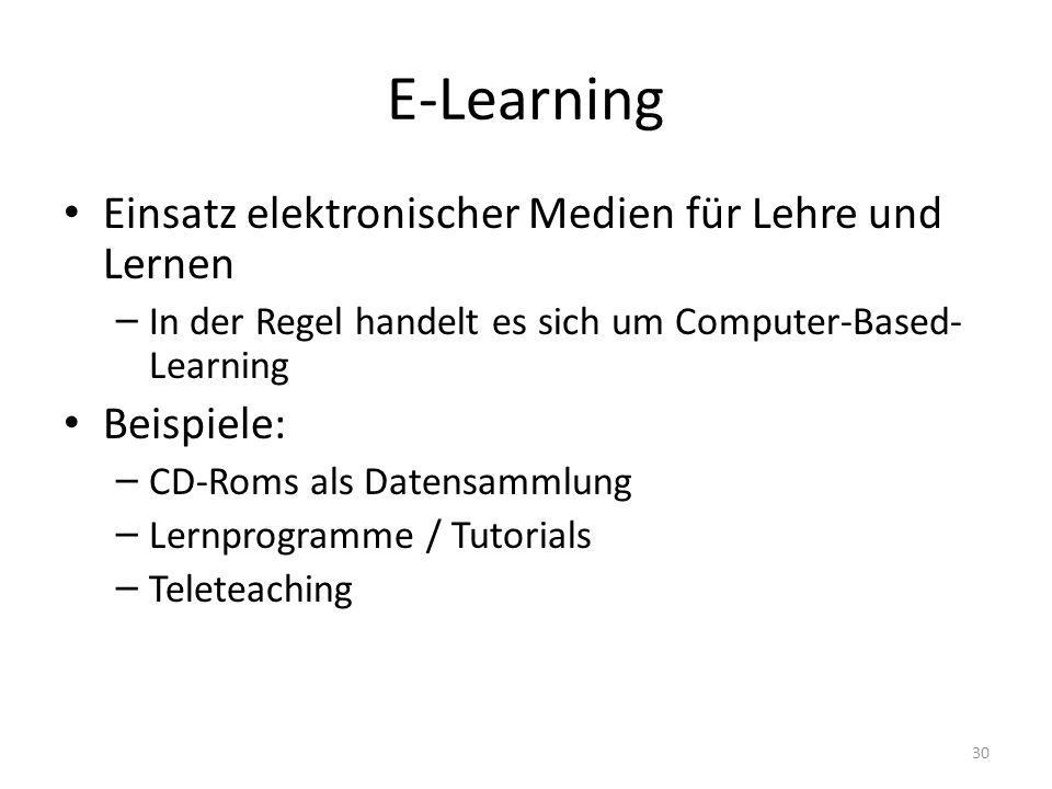 E-Learning Einsatz elektronischer Medien für Lehre und Lernen – In der Regel handelt es sich um Computer-Based- Learning Beispiele: – CD-Roms als Datensammlung – Lernprogramme / Tutorials – Teleteaching 30