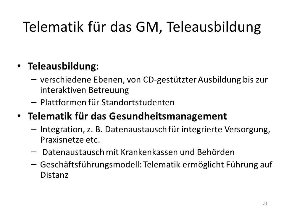 Telematik für das GM, Teleausbildung Teleausbildung: – verschiedene Ebenen, von CD-gestützter Ausbildung bis zur interaktiven Betreuung – Plattformen für Standortstudenten Telematik für das Gesundheitsmanagement – Integration, z.