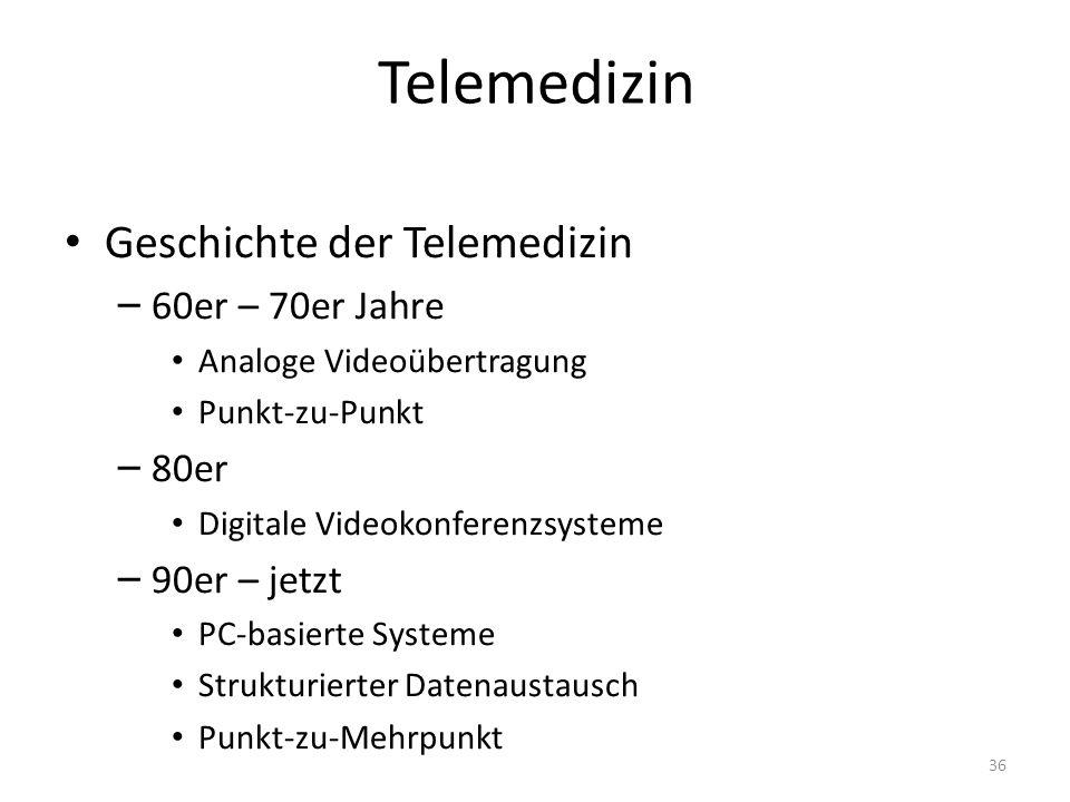 Telemedizin Geschichte der Telemedizin – 60er – 70er Jahre Analoge Videoübertragung Punkt-zu-Punkt – 80er Digitale Videokonferenzsysteme – 90er – jetzt PC-basierte Systeme Strukturierter Datenaustausch Punkt-zu-Mehrpunkt 36