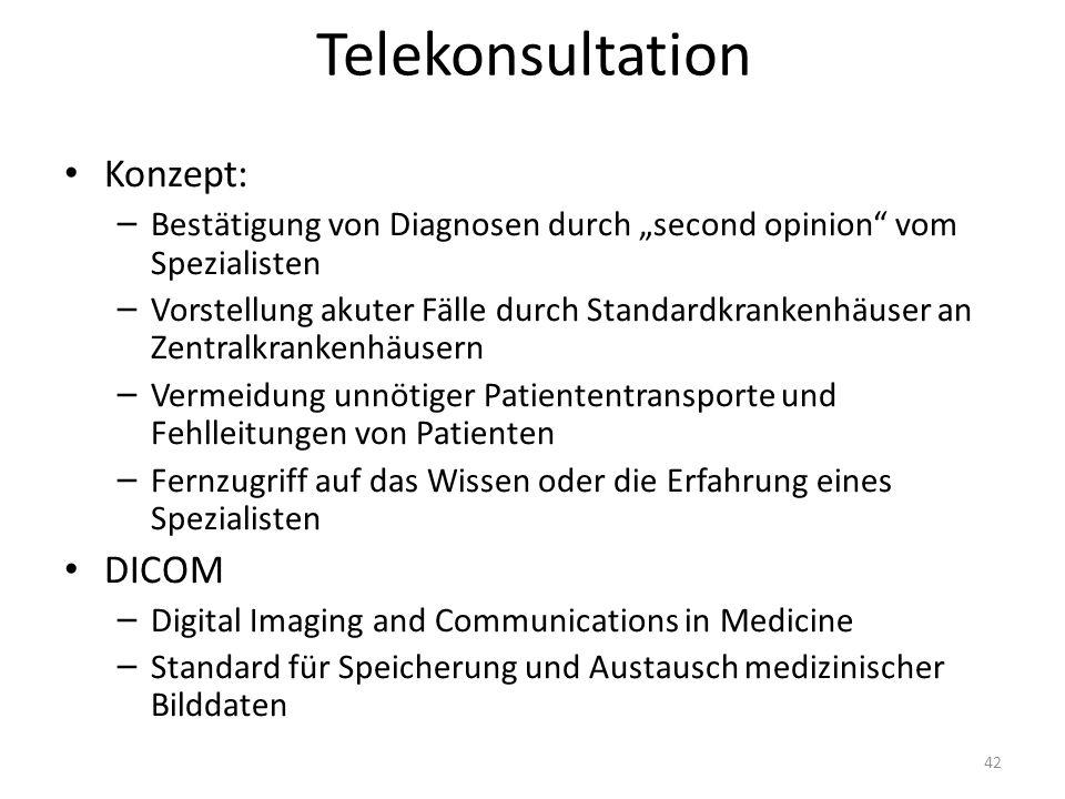 Telekonsultation Konzept: – Bestätigung von Diagnosen durch second opinion vom Spezialisten – Vorstellung akuter Fälle durch Standardkrankenhäuser an