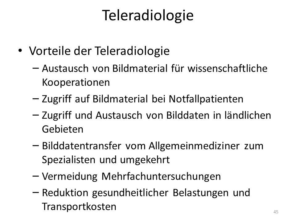 Vorteile der Teleradiologie – Austausch von Bildmaterial für wissenschaftliche Kooperationen – Zugriff auf Bildmaterial bei Notfallpatienten – Zugriff